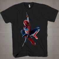 The Amazing Spiderman Flying  Mens and Women T-Shirt Available Color Black And White