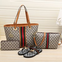 GUCCI 2018 Women's High Quality Exquisite Four-piece Tote/Shoe F-KSPJ-BBDL brown