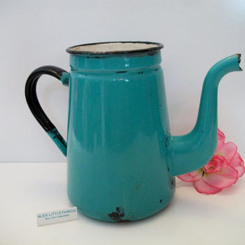 vintage blue enamel coffee tea pot