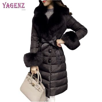 Winter Korean Women Feather Cotton Coat 2018 High Quality Warm Cotton Outerwear Faux Fur Collar Long Feather Cotton Overcoat B69