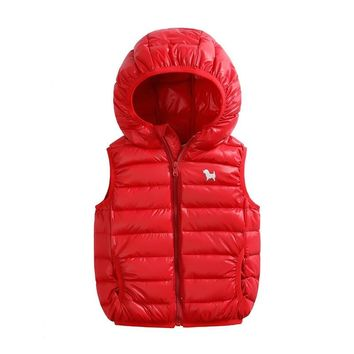 2018 Newest Children Sports Down Jacket Light And Thin Hooded Kids Boys Vest and Waistcoats Sports Casual Clothes