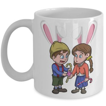 Hensel Gretel Grimm Easter Bunny Ear Mug Cup For Kids Funny Children Gifts For Holidays 2017 2018 Color Pencil Holder Chocolate Egg Jar Gift Surprise Brother Sister Hensel Gretel Unique Gift For Easter 2017 2018