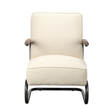 Perth Club Chair Beige Fabric 100% Linen Iron Frame