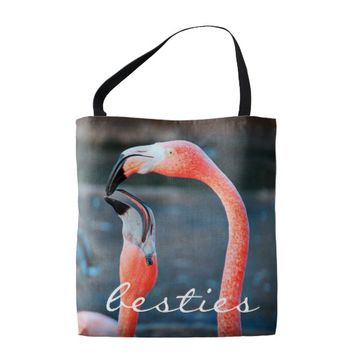 """Besties"" quote cute pink flamingos photo tote bag"
