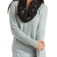 Mixed Cable Knit Tunic Sweater by Charlotte Russe