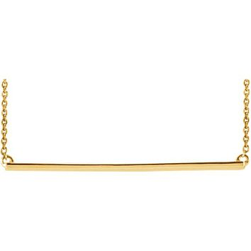 14K Gold Straight Bar Necklace
