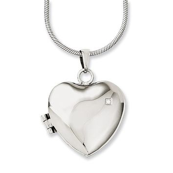 Synthetic Cubic Zirconia Heart Locket Necklace Stainless Steel - Prong Set