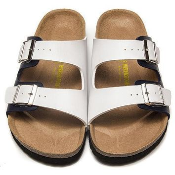 Birkenstock Leather Cork Flats Shoes Women Men Casual Sandals Shoes Soft Footbed Slippers-9