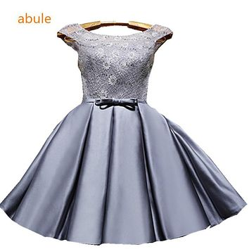 abule Short Wedding Bridesmaid Dresses  Multi-color lace customize Ruffles lace up Low Bridesmaid Dresses real madred jersey