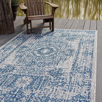 7129 Blue Outdoor Distressed Vintage Oriental Area Rugs