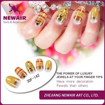 2015 Brand New Ladies Girls Beauty 3D Crystal Acrylic False Nail Tips Bright Design Fake Nail Art Full Cover Pre-glue Nail Tips