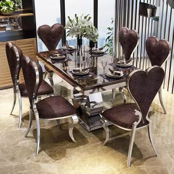 Rama Dymasty stainless steel Dining Room Set Home Furniture modern marble dining table and 6 chairs,