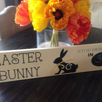 Easter Bunny Countdown Chalk Board Sign Decor