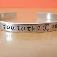 I Love You To The Moon And Back  Bracelet, Affirmation Gift, Hand Stamped, Gift Under 20