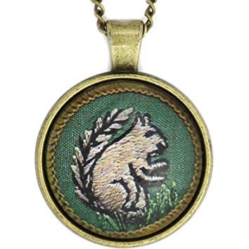 Woodland Squirrel Patch Necklace Gold Tone NW38 Scout Pendant Fashion Jewelry