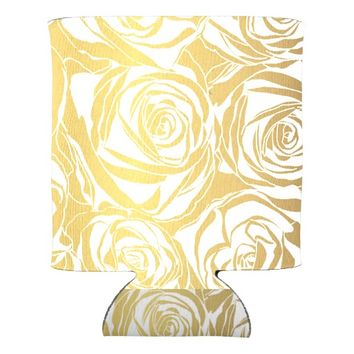 faux gold,roses,pattern,art deco,beautiful,chic,el can cooler