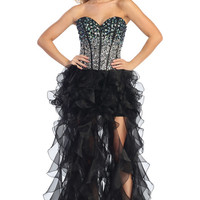 High Low Ruffle Skirt Prom Dress in Black