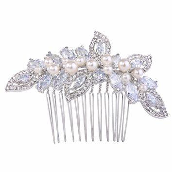 BELLA Fashion Luxury CZ Zircon Leaf Bridal Hair Comb Ivory Pearl Wedding Hair Jewelry Accessory Party Gift Silver/Gold/Rose Gold