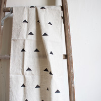 Triangle Block Printed Linen Table Runner