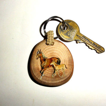 Mare And Foal Keychain Horse Keyring. Key Ring Wood Slice. Beautiful Unique Key Chain Personalized Quote Name Wood Foal Mare Keychain Keyfob