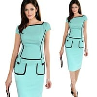 FIODAY New Fashion Bodycon Pencil Business Work Button Midi Tank Dress