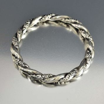 Forget Me Not Repousse Silver Bangle Bracelet