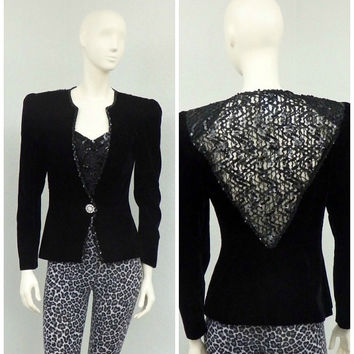 Vintage 80s Black Velvet Blazer Jacket, Sequin Blazer, Cropped Blazer, Bling Jacket, Formal Jacket, Oversized Blazer