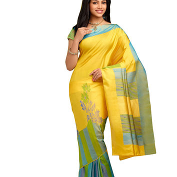 Yellow and Blue Pure Silk Handloom Pattu Sari - ROSNT1020