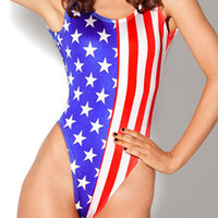 American Flag Print Womens One-Piece Swimsuit Cheap Swimwear