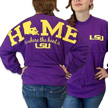 Louisiana LSU Tigers Women's Home Spirit Jersey Long Sleeve Oversized Top Shirt