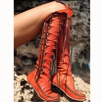 Fashion Lace Up Type Knot Knee-High Flat Boots Tagre™