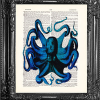Blue Octopus-Dictionary Print Book Print Page Art-Upcycled Antique Book Page-Print On Dictionary Book Page-Upcycled Book Page