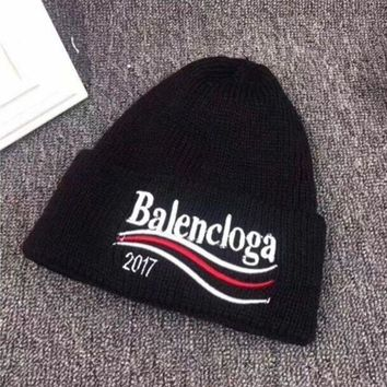 ONETOW Balenciaga' Autumn Winter Fashion Wave Stripe Letter Embroidery Knit Hat Women