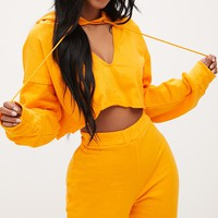 Shape Orange Crop Open Neck Hoodie