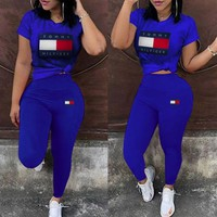 Tommy Hilfiger Women Casual Casual Print Top Pants Trousers Set Two-Piece