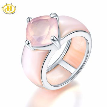Hutang Rose Quartz & Pink Mother of Pearl Solid 925 Sterling Silver Ring for Women's Fine Jewelry Unique Design Valentine's day