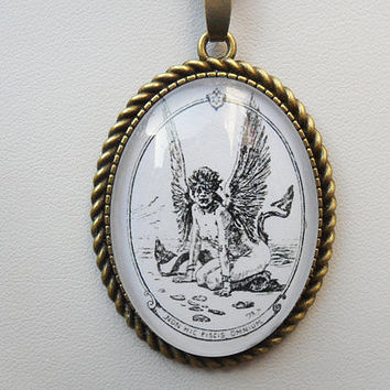 Rare Fish pendant necklace, Félicien Rops, scary winged siren, symbolist pendant, picture pendant, antique bronze, vintage look; UK seller