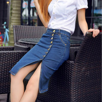 Women Denim Buckle Soft Hip Cowgirls Long Skirts Bodycon Pencil Jeans Skirt