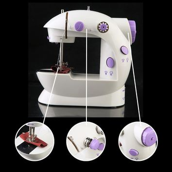 New Arrivel Mini electric household sewing machine  dual speed Double Thread power supply Portable Sewing Machine