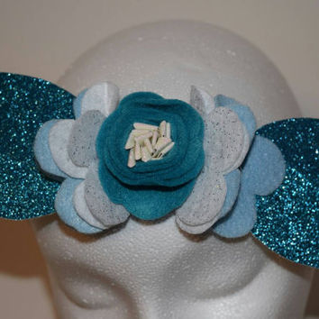 Winter Crown, headband, baby girl, girls, infants, toddlers, newborn, felt flowers, glitter felt, blue rose, crown, Elastic band