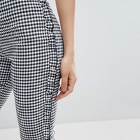 Nobody's Child High Waisted Pants In Gingham With Frill Hem at asos.com