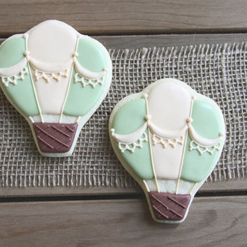 Hot Air Balloon Favors / Baby Shower Favors / 1st Birthday Favors / The Places You Will Go / Hot Air Balloon Sugar Cookies- 12 cookies