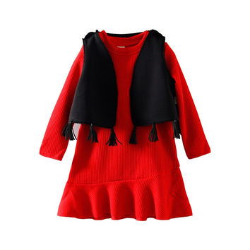 Girl 2pcs LittleSpring Autumn Knitted Sweater Mermaid Dress with Fashion Tassel Vest Coat Girl Dress Sets Kids Party Clothes