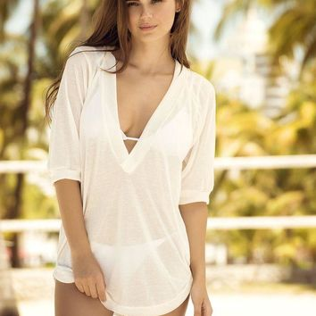 DCCKAV3 White Sheer Hoodie Cover Up & Beach Dress