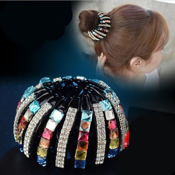 Fashion Multi color Bird Nest/ Expanding Tail Hair Bun Holders Clips Grips Clamps Claw with Circular Rhinestones Plate hairpin