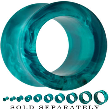4 Gauge Acrylic Teal Blue Marble Double Flare Tunnel | Body Candy Body Jewelry
