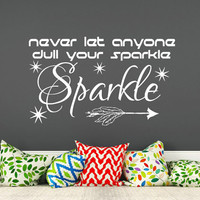 Nursery Wall Decal Quote Never Let Anyone Dull Your Sparkle Vinyl Sticker Boho Arrow Decal Kids Boys Room Bedroom Home Decor T157