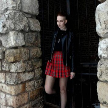 High waist pleated plaid skirt above the knee ~ Plus size available