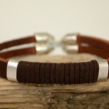 EXPRESS SHIPPING, Men Bracelet, Leather Bracelet, Genuine Leather, Mens Leather, Brown Leather Brown Suede, Mens Bracelet