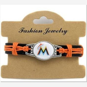 Hot Selling Miami Marlins Baseball Team Leather Bracelet Adjustable Leather Cuff Bracelet For Men and Women Fans 10pcs/lot